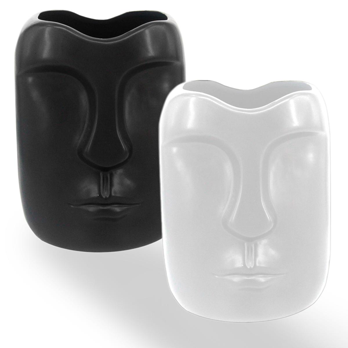 Jogo 2 Vasos Rosto Cerâmica Branca e Preto 14x12x19cm BTC