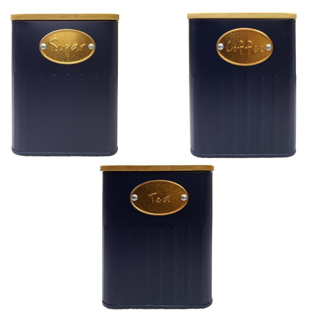 Jogo 3 porta mantimentos ferro azul madeira 11x11x14,5cm BTC