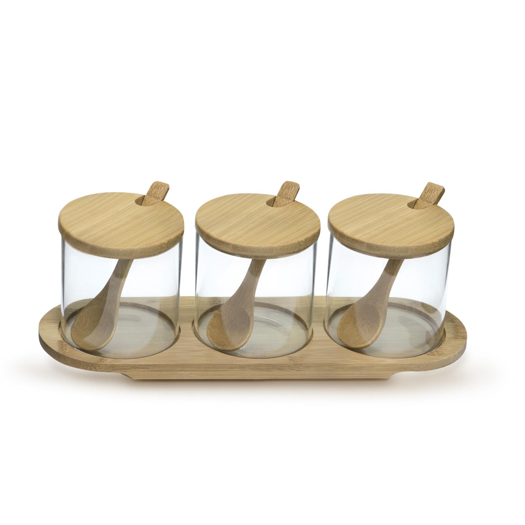 Jogo 3 portes vidro e bambu para molho e tempero  Mimo Style