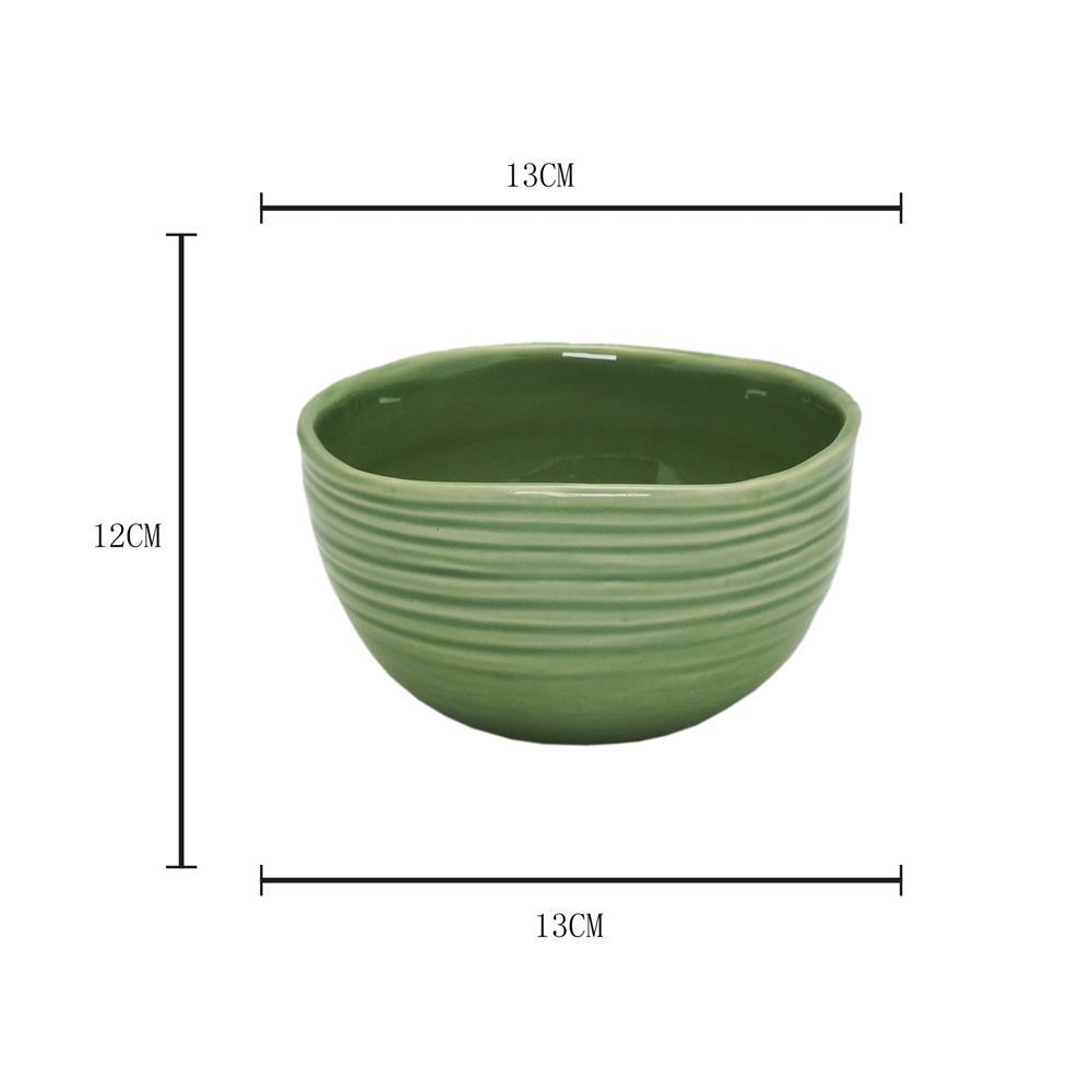 Jogo 4 Bowls cerâmica irregular Ocean verde 13x12cm Rojemac