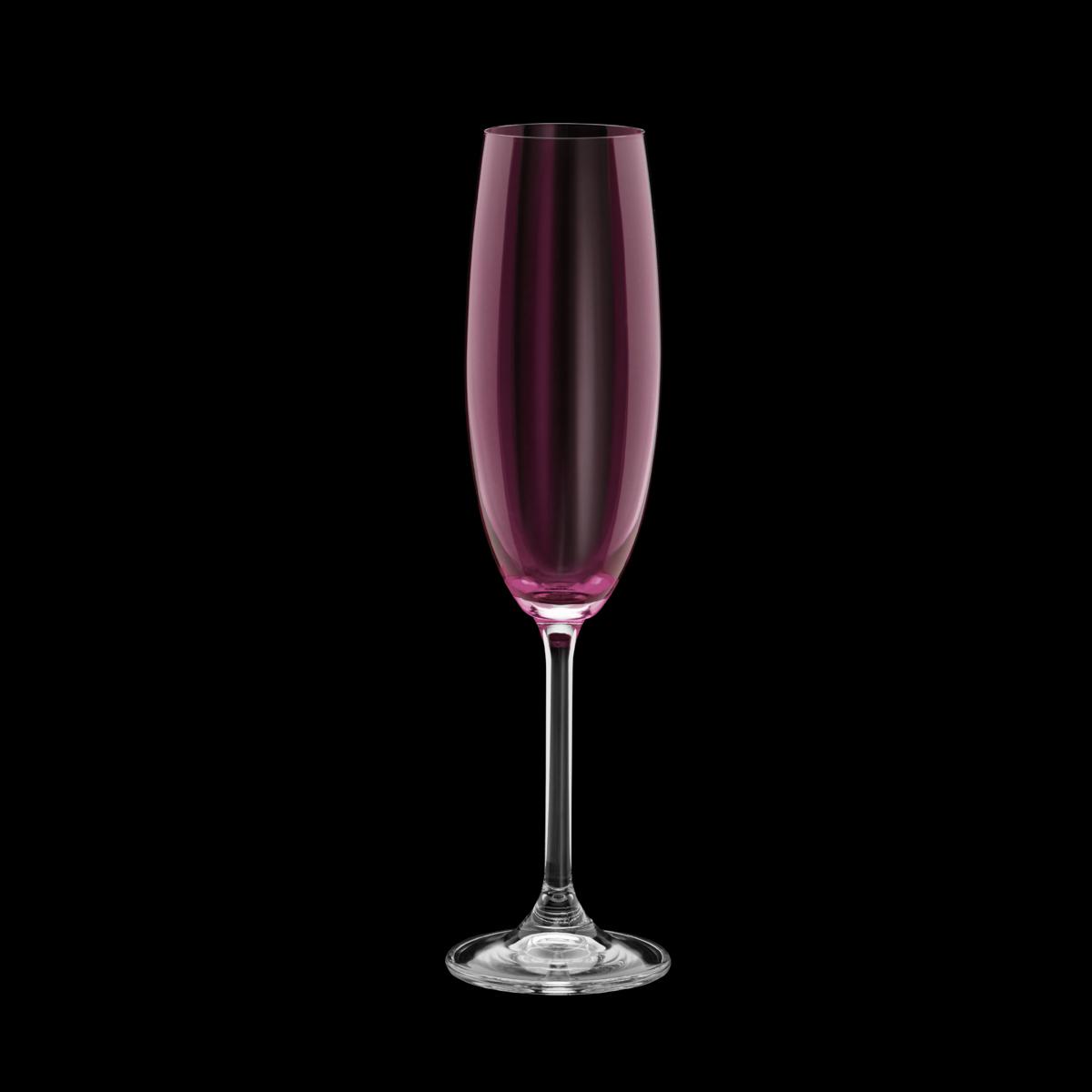 Jogo 6 taças champanhe cristal colibri ametista 220ml Bohemia