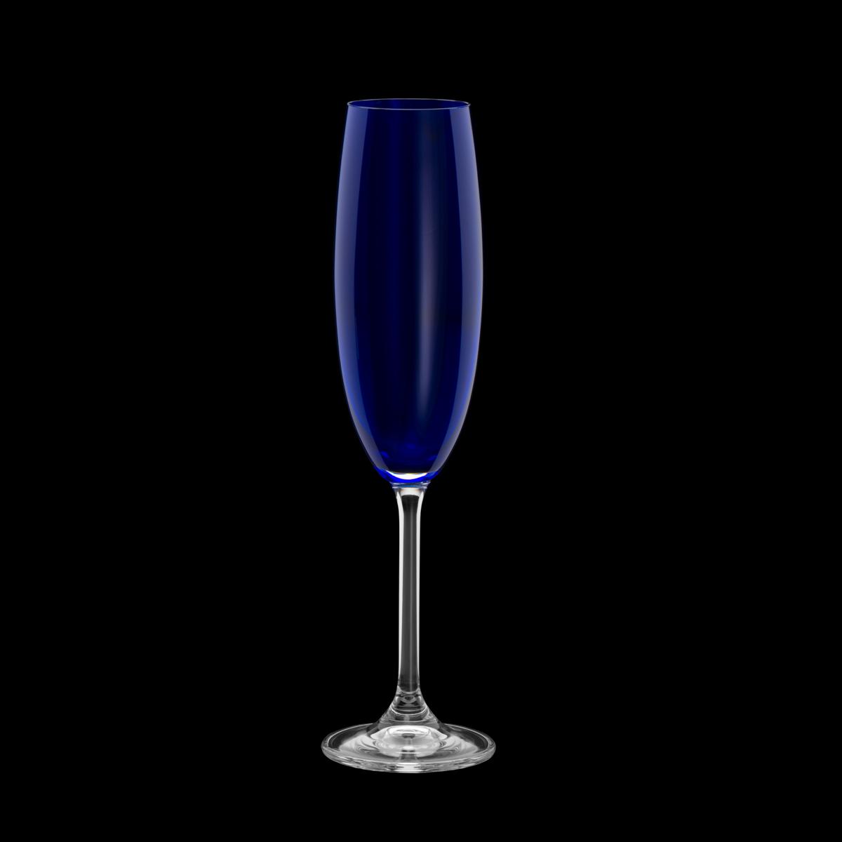 Jogo 6 taças champanhe cristal colibri cobalto 220ml Bohemia