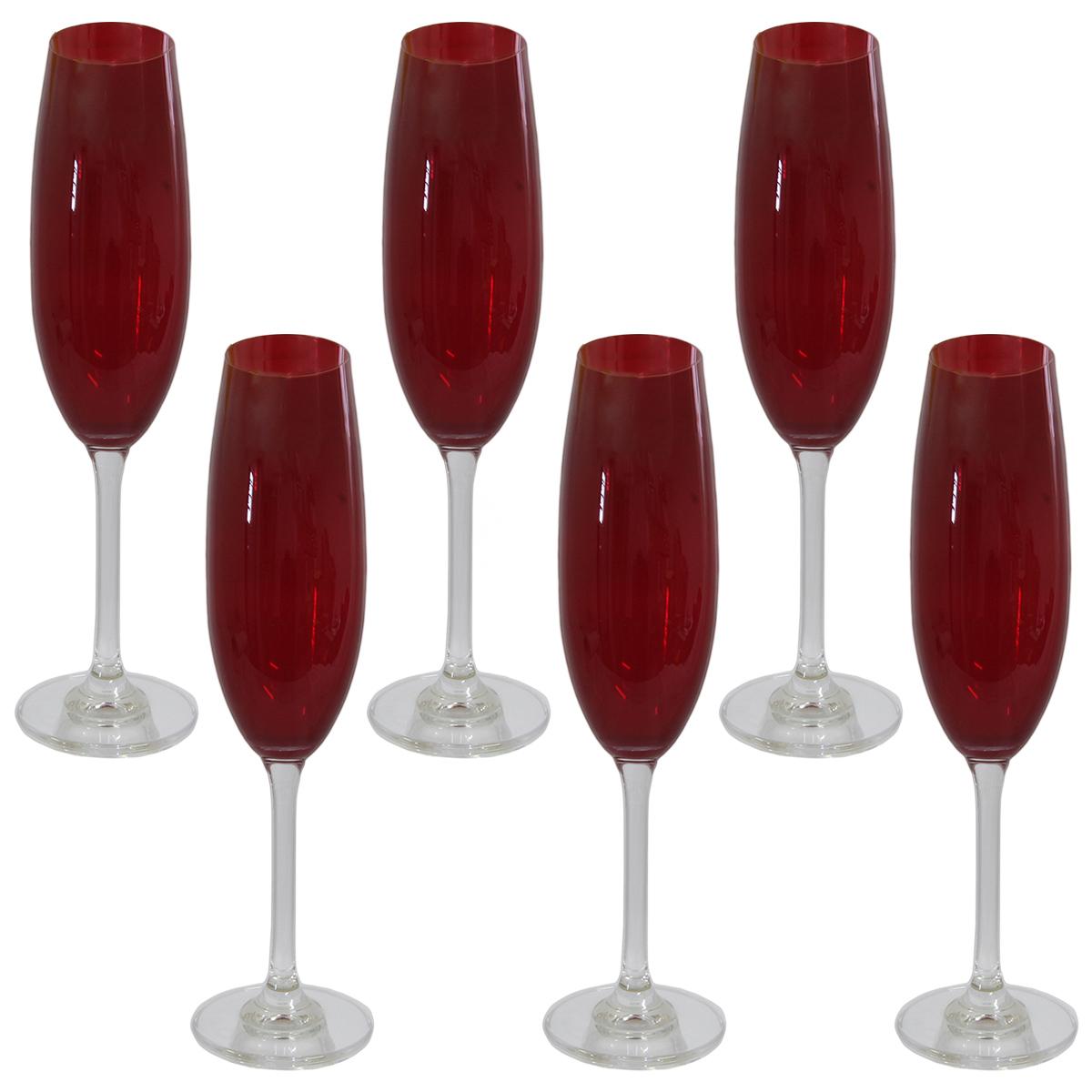 Jogo 6 tacas champanhe Gastro cristal 220ml carmim Bohemia