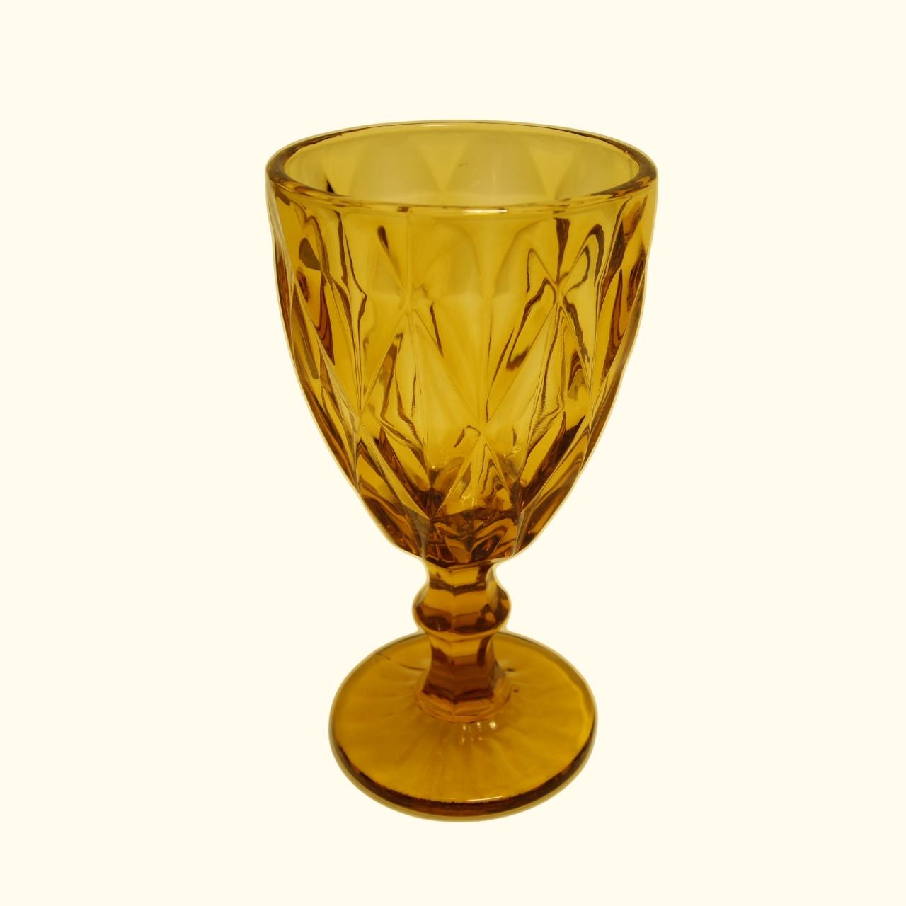 Jogo 6 Taças Matelassê Vidro 280ml 17cm Âmbar Dynasty