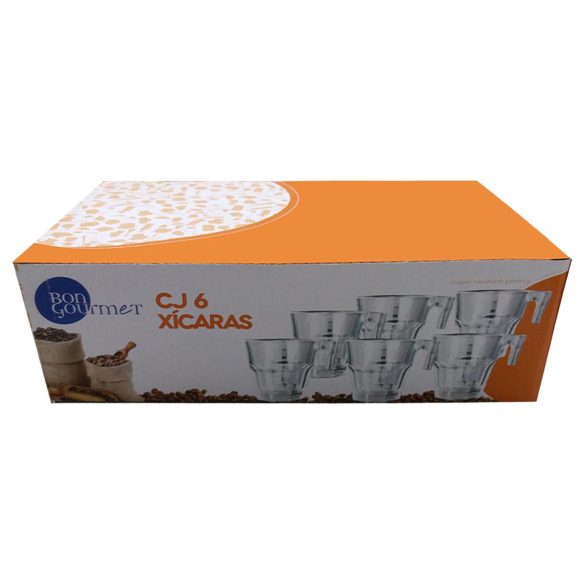 Jogo 6 Xícaras Vidro Sodo Cálcico Allure Bon Gourmet 70ml