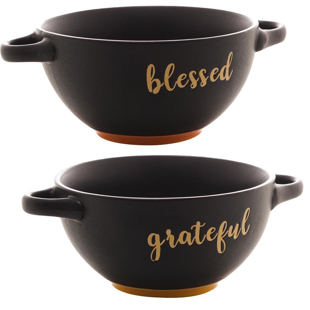 Kit 2 consumes cerâmica Blessed  Grateful preto Bon Gourmet