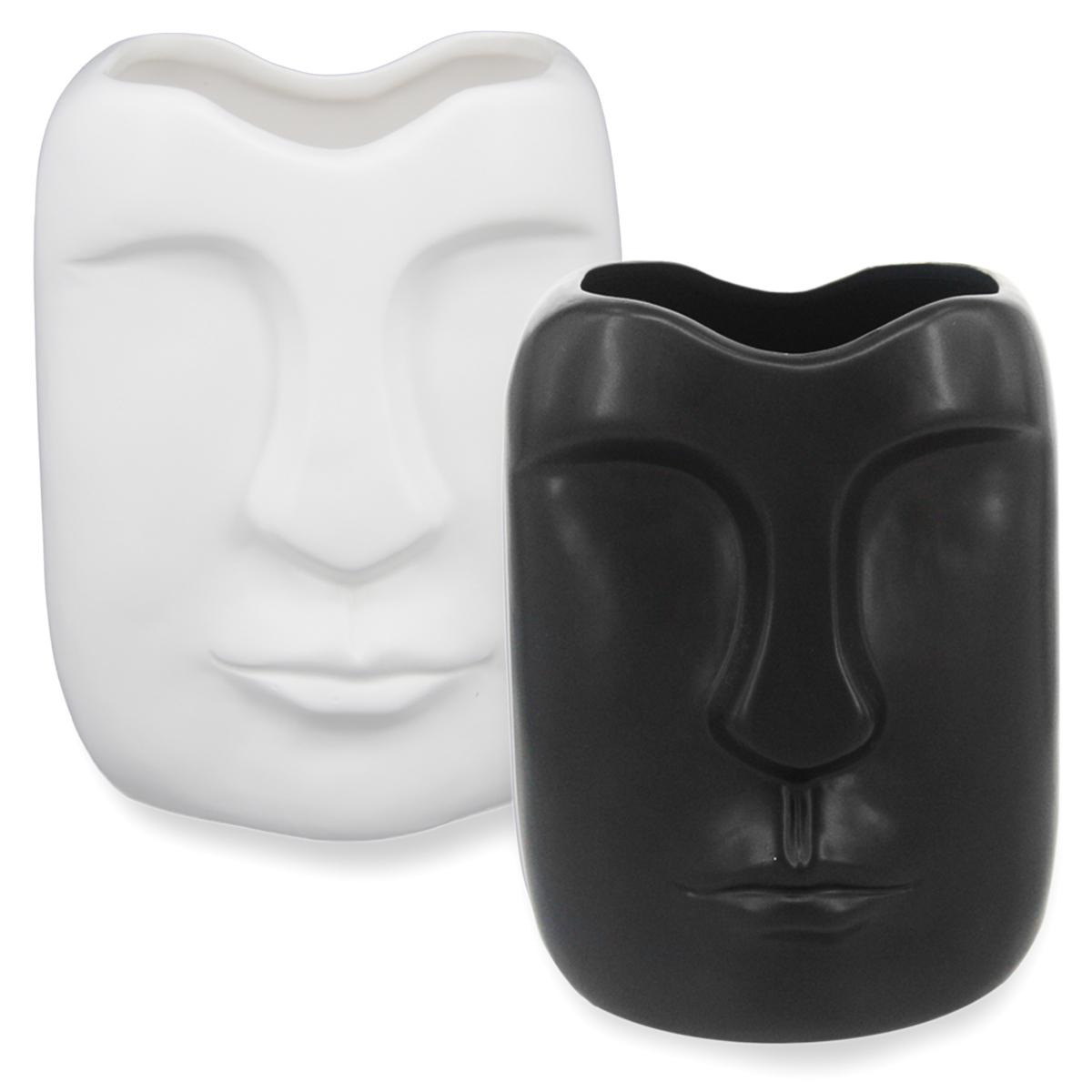 Kit 2 Vasos Cerâmica Rosto Branco 19x14x12 Preto14x11x9 BTC