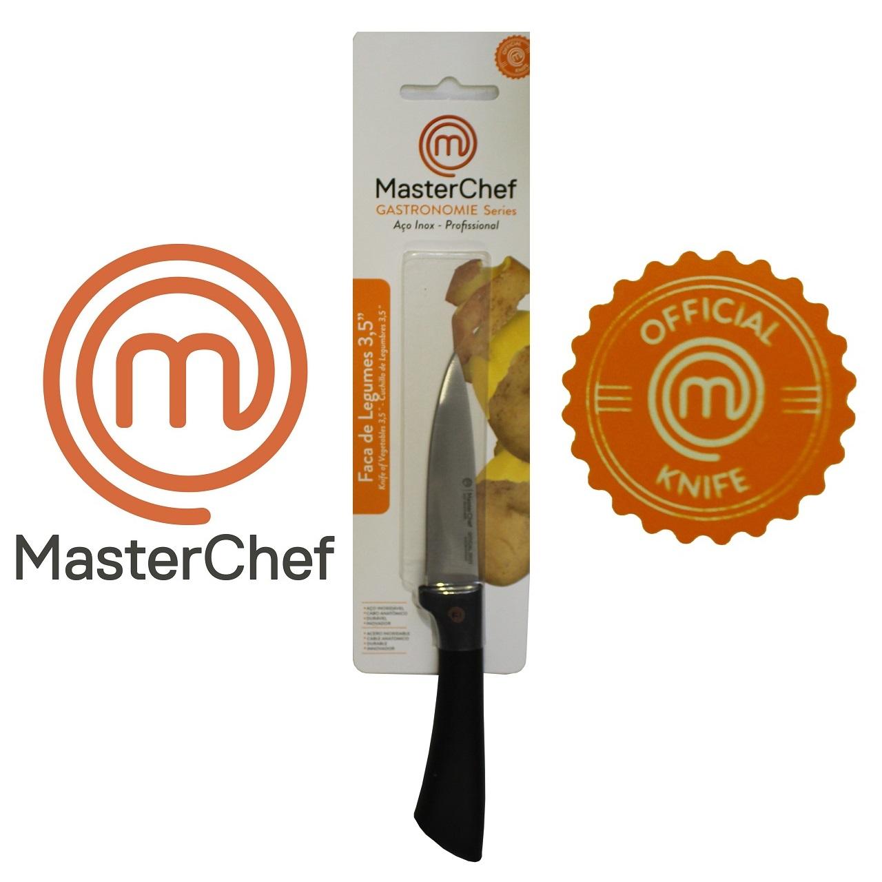 Kit 4 Facas + Afiador Gastronomie MasterChef