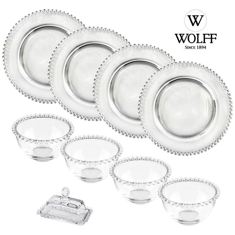 Kit 4 Pratos Sobremesa 4 Bowls + Manteigueira Cristal Wolff