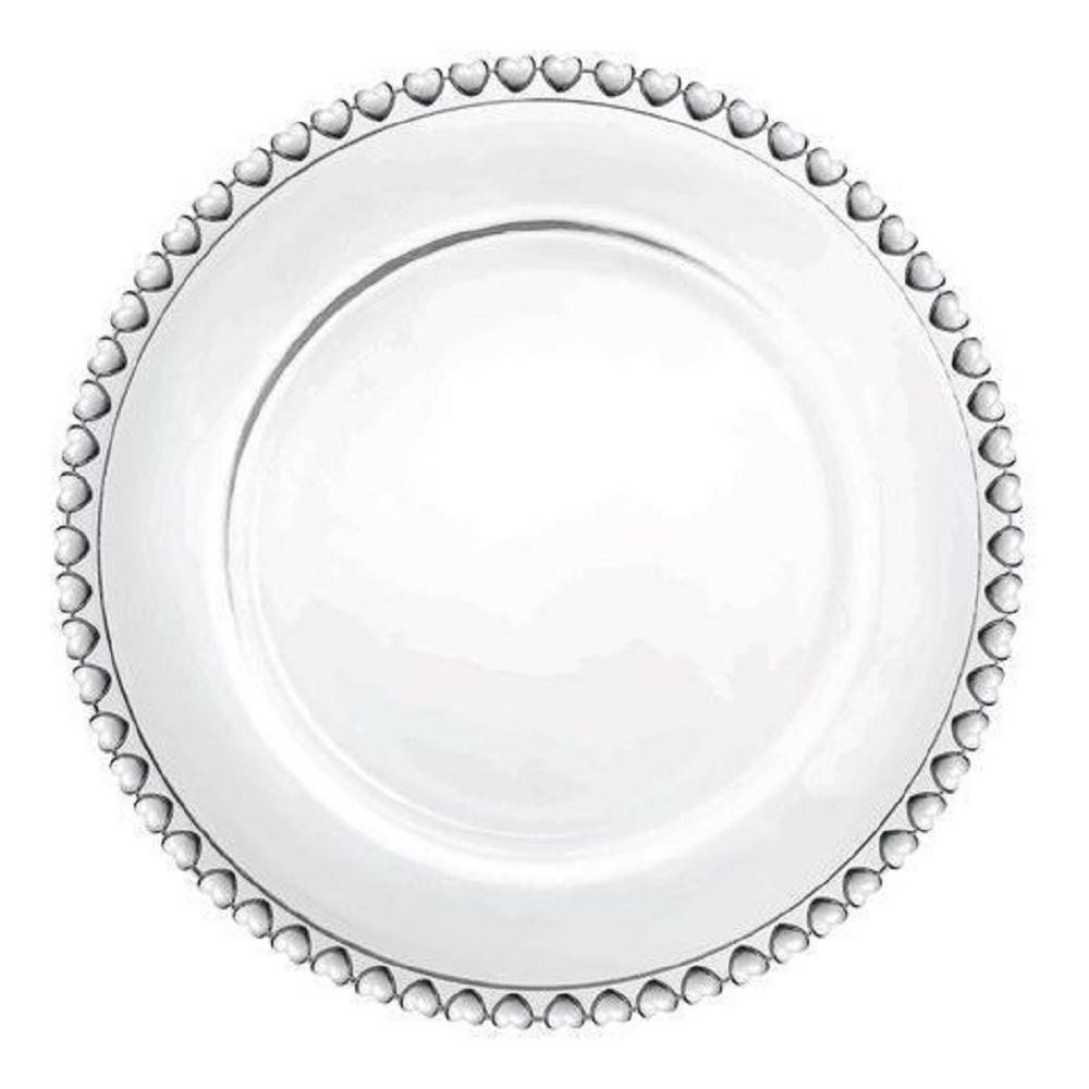 Kit 4 Pratos Sobremesa Cristal Coração Transparente 20c Lyor