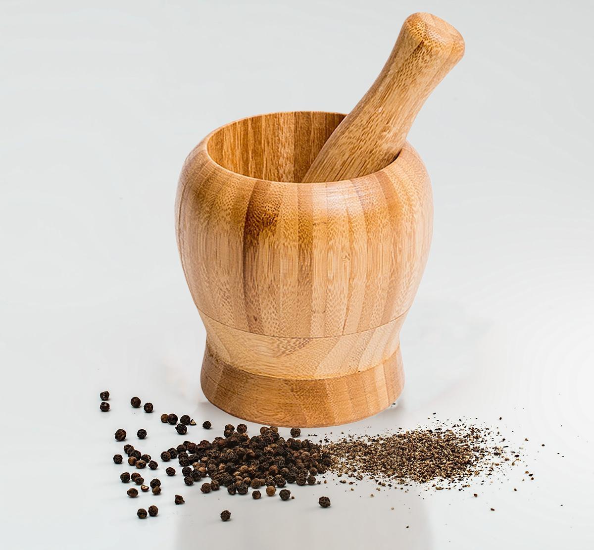 Kit 5 Utensílios/ Pote+ Pilão/ Socador Bambu Ecokitchen Mimo