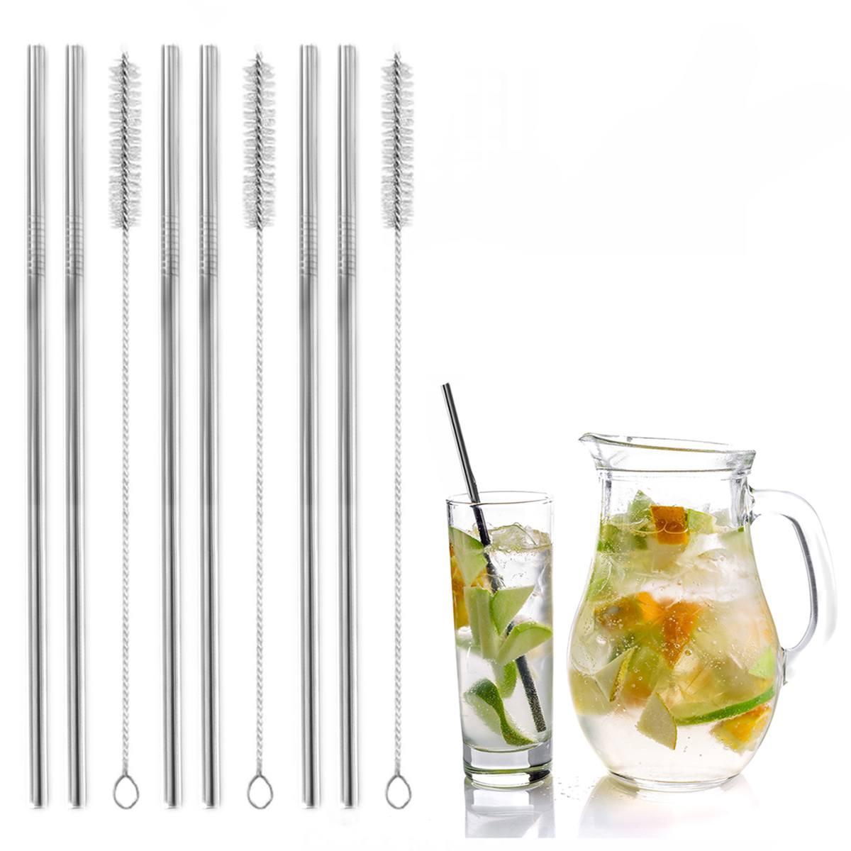 Kit 6 canudos reutilizáveis 21cm inox e 3 escovas Mimo Style