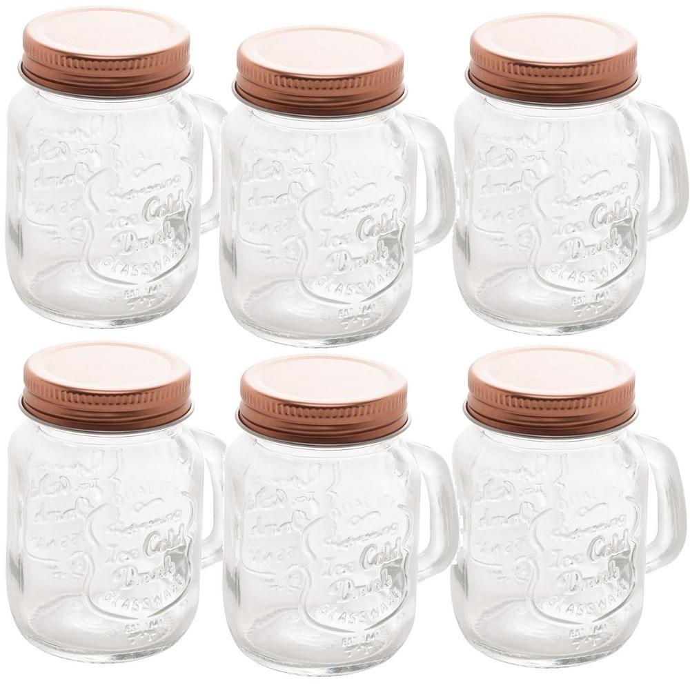 Kit 6 Potes De Vidro Com Tampa Cobre Little Mug 110ml Urban