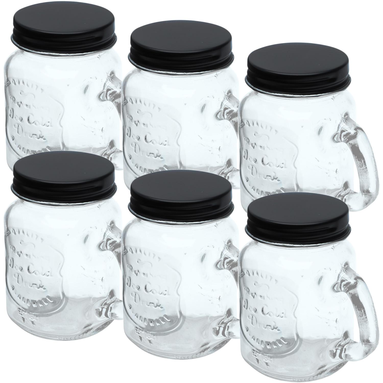 kit 6 Potes Vidro Tampa Preta Little Mug 4,5x8,6-110ml Urban