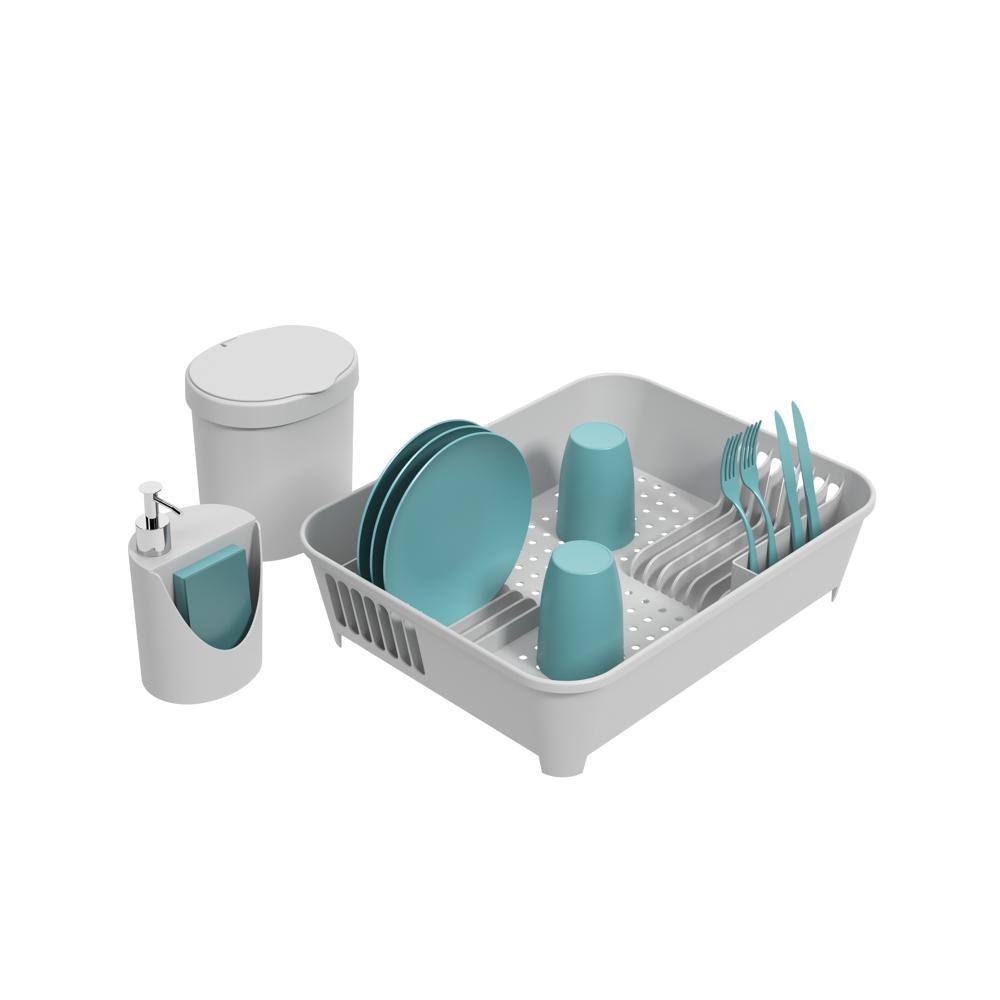 Kit escorredor 45x35x10,5cm lixeira e dispenser Coza