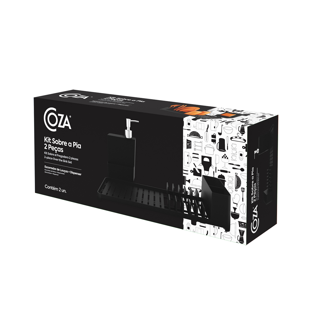 Kit escorredor de louças dispenser preto 41,7x16,9x21cm Coza