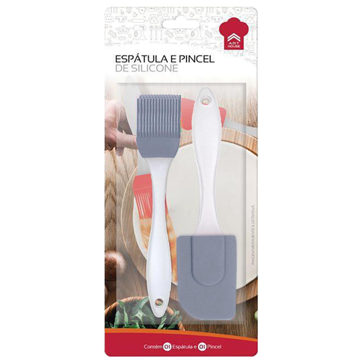 Kit Espátula e Pincel Silicone Candy 20cm Cinza Art House