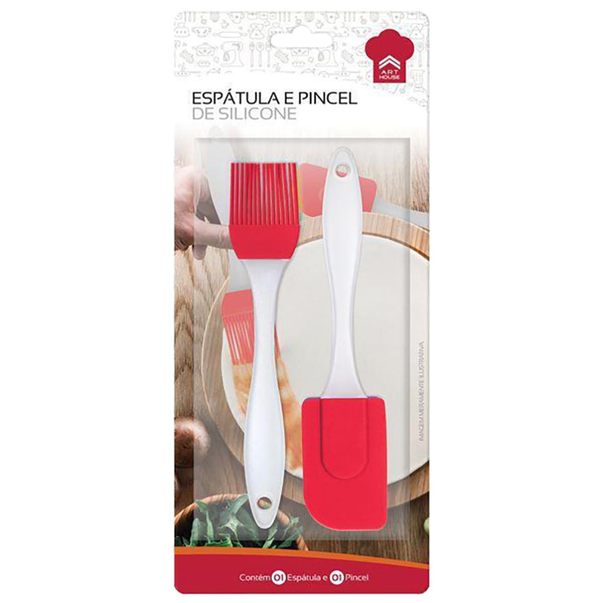 Kit Espátula e Pincel Silicone Candy 20cm Vermelho Art House