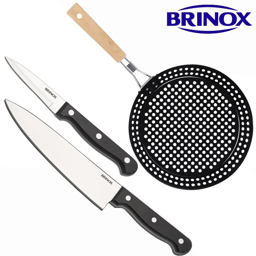 "Kit Faca 8"" 32,5cm + Legumes 18,5cm + Grelha Dobrável Brinox"