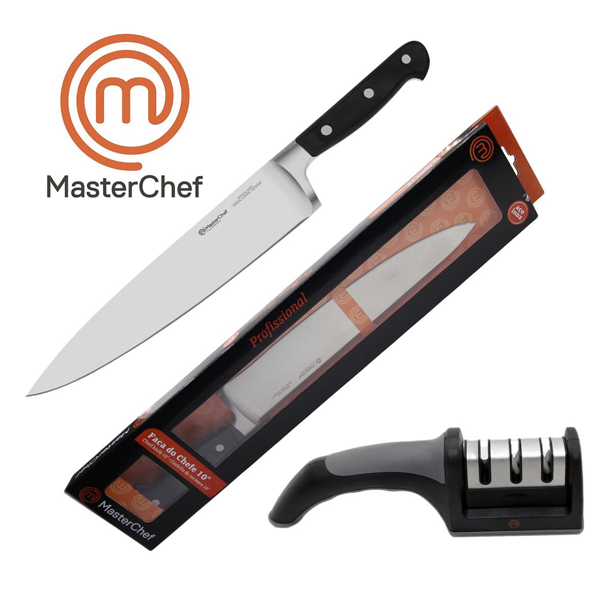 Kit Faca Do Chef 10 Profissional Line e Afiador 3 Faces MasterChef
