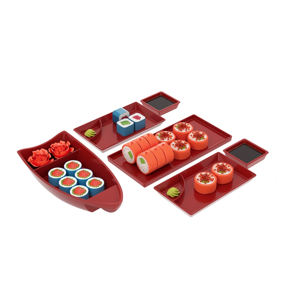 Kit para sushi 6 peças para 2 pessoas vermelho Coza