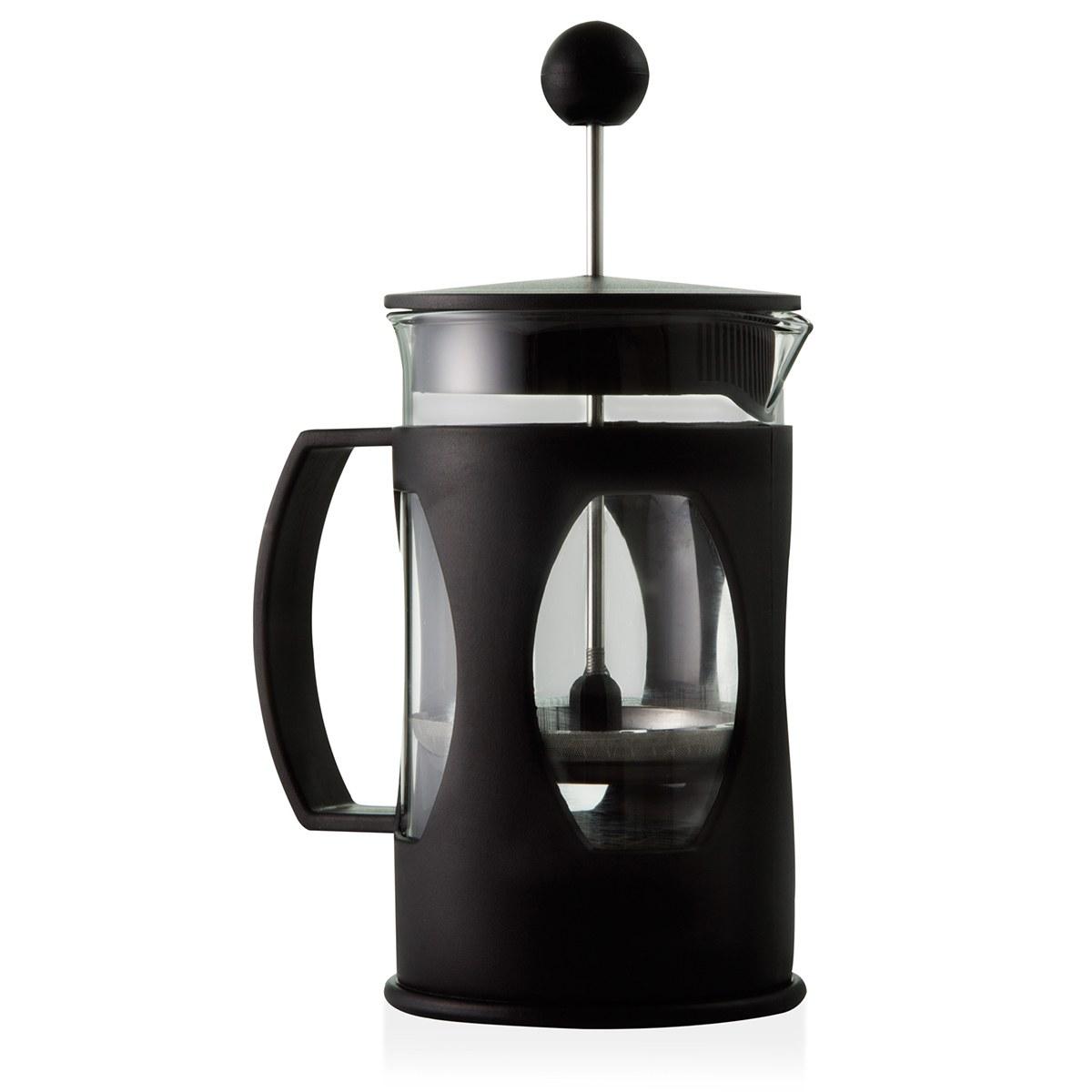 Kit prensa francesa preta 600 ml e moedor de café Mimo Style