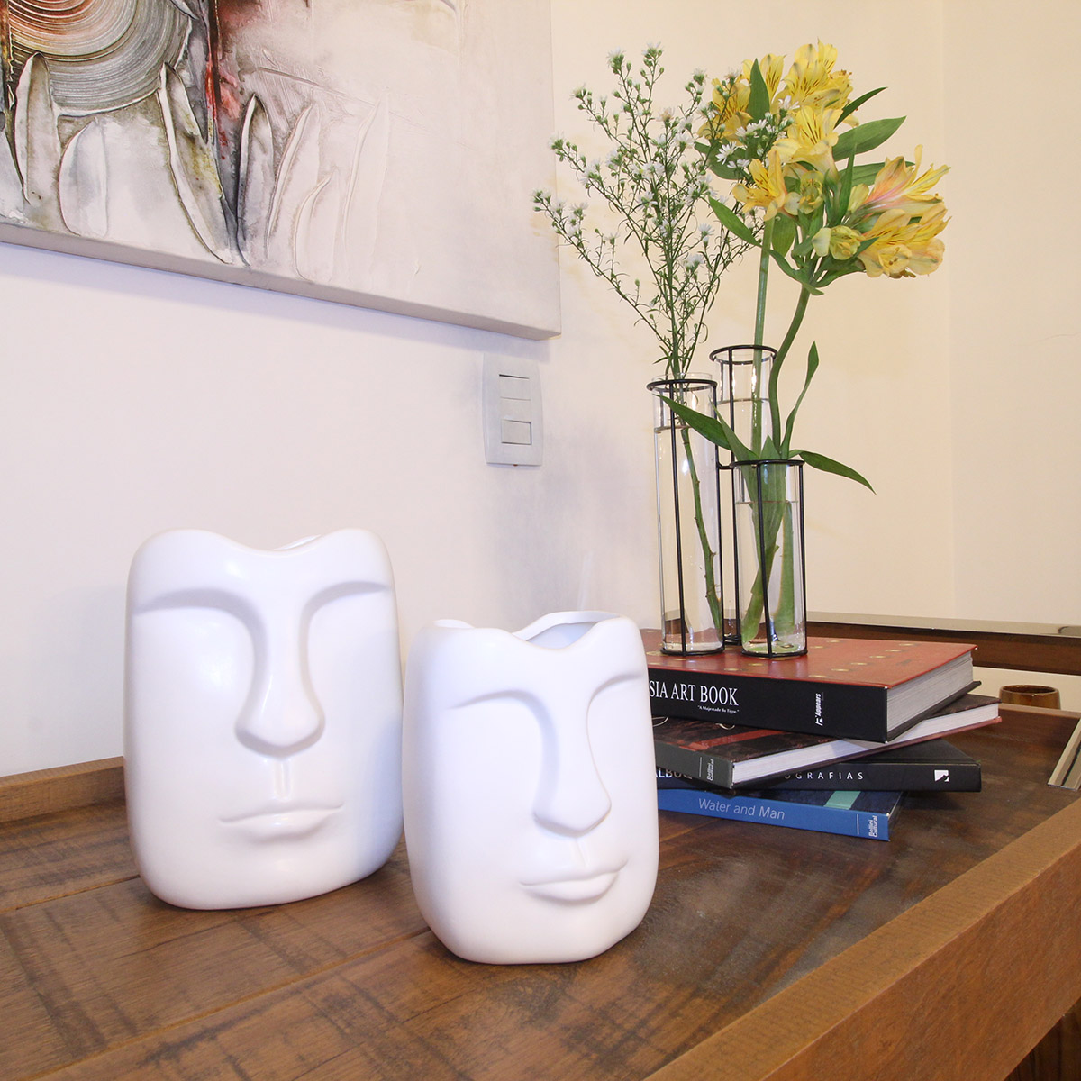 Kit Vaso Cerâmica Branca Rosto 14x11x9cm e 14x12x19cm BTC