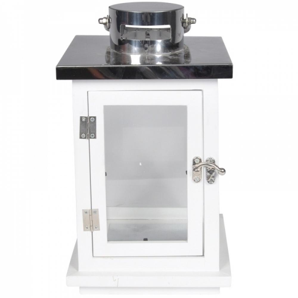 Lanterna decorativa madeira branca e metal 17x38cm BTC