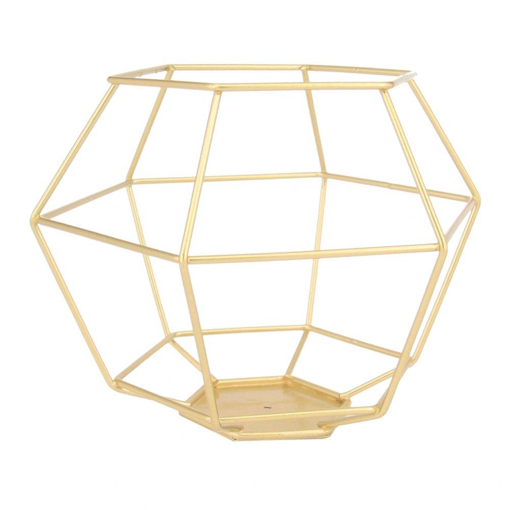 Lanterna Geométrica metal dourada 16,5x12,5cm BTC