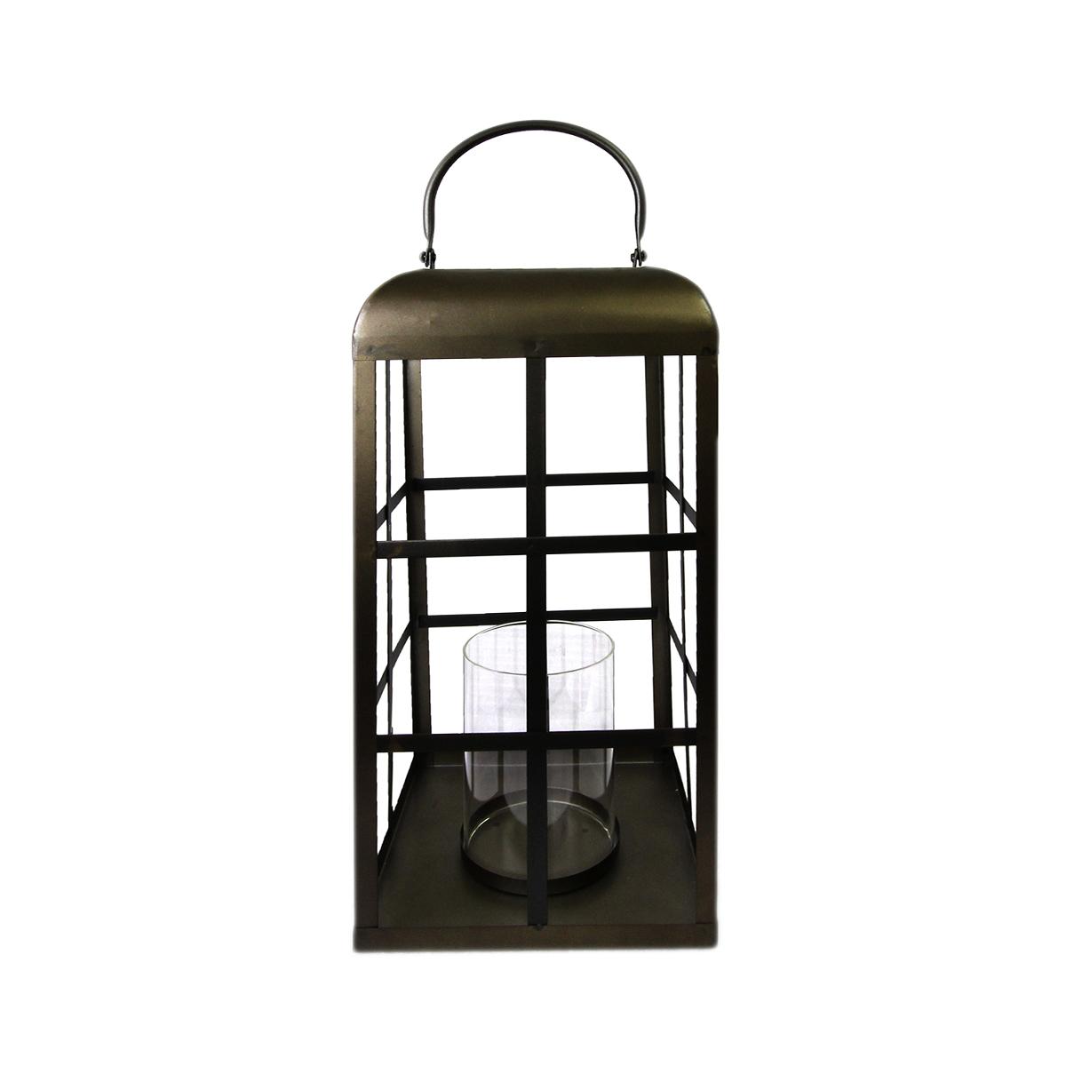 Lanterna metal marrom vidro transparente 16,5x16x5x41cm BTC