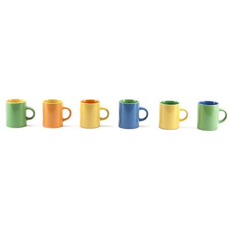 Mini Canecas Bicolor para Café 6 Peças Mimo Style Multicor
