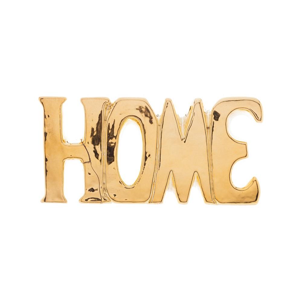 Palavra decorativa Cerâmica Home dourada 18,5x3x9cm Lyor