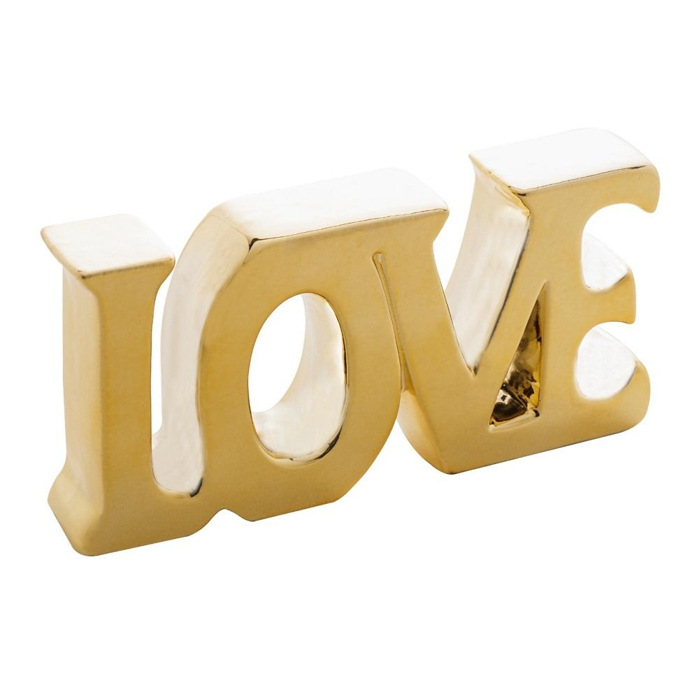 Palavra decorativa Cerâmica Love dourada 19x3x9cm Lyor