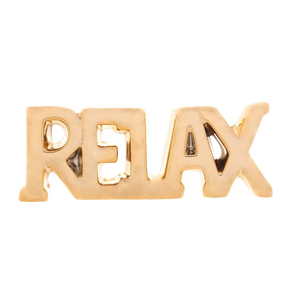 Palavra decorativa Cerâmica Relax dourada 20,5x3x7,5cm Lyor