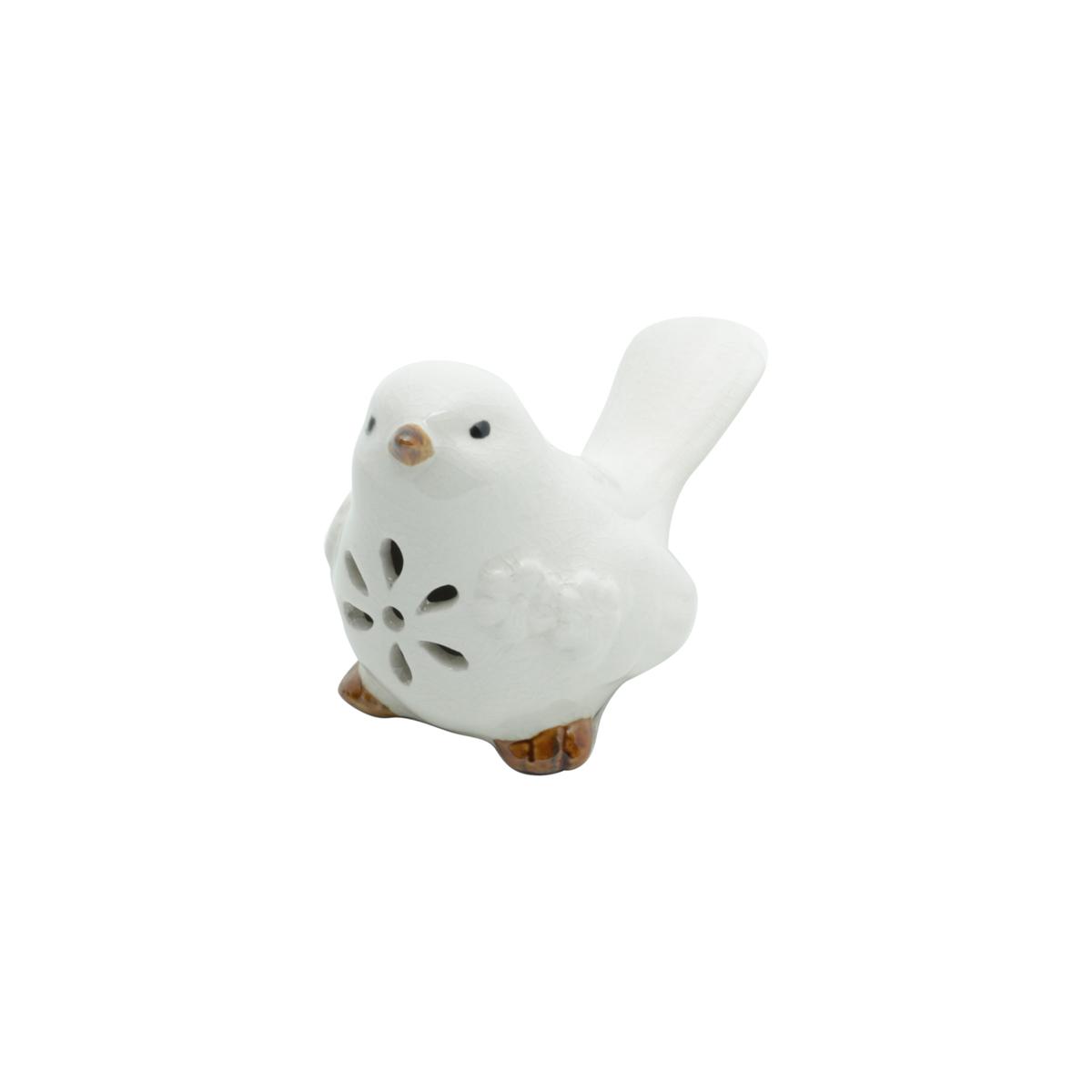 Pássaro decorativo cerâmica branco 10x5x6x8,5cm Lyor