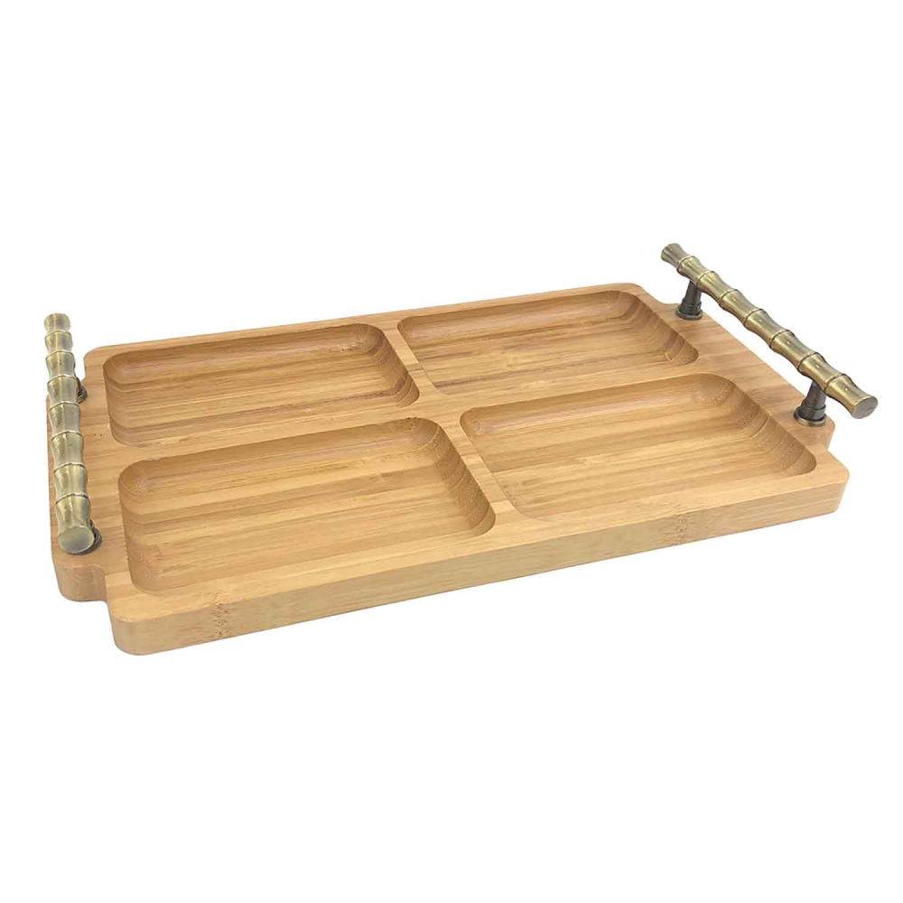 Petisqueira de bambu com alça de metal 32x18x4cm BTC