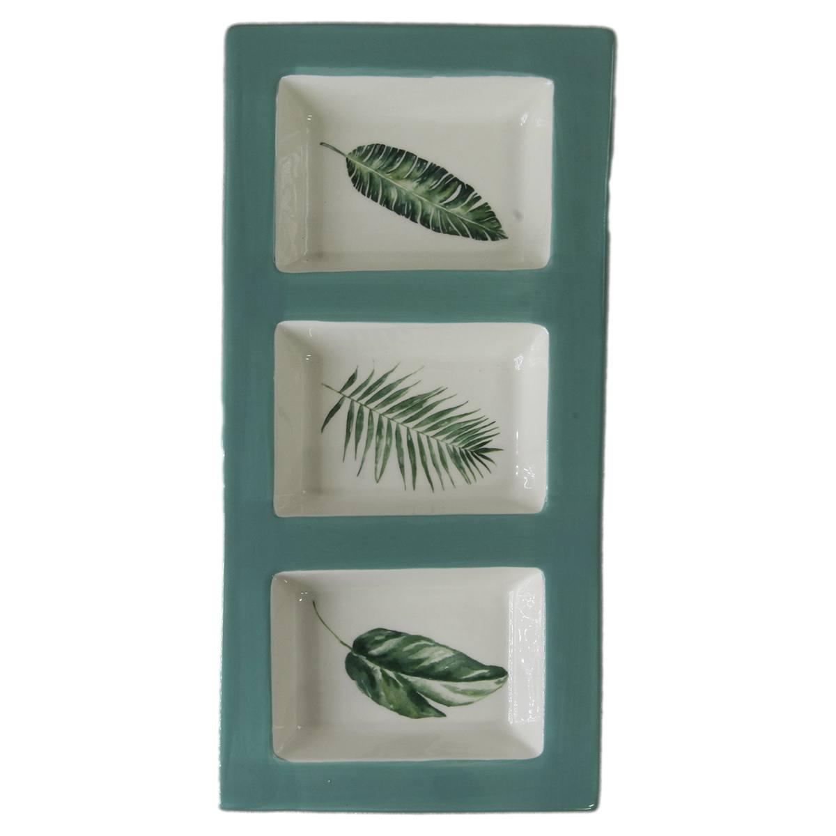 Petisqueira de cerâmica verde 3 divisões 34,8x15,8x3,5cm BTC