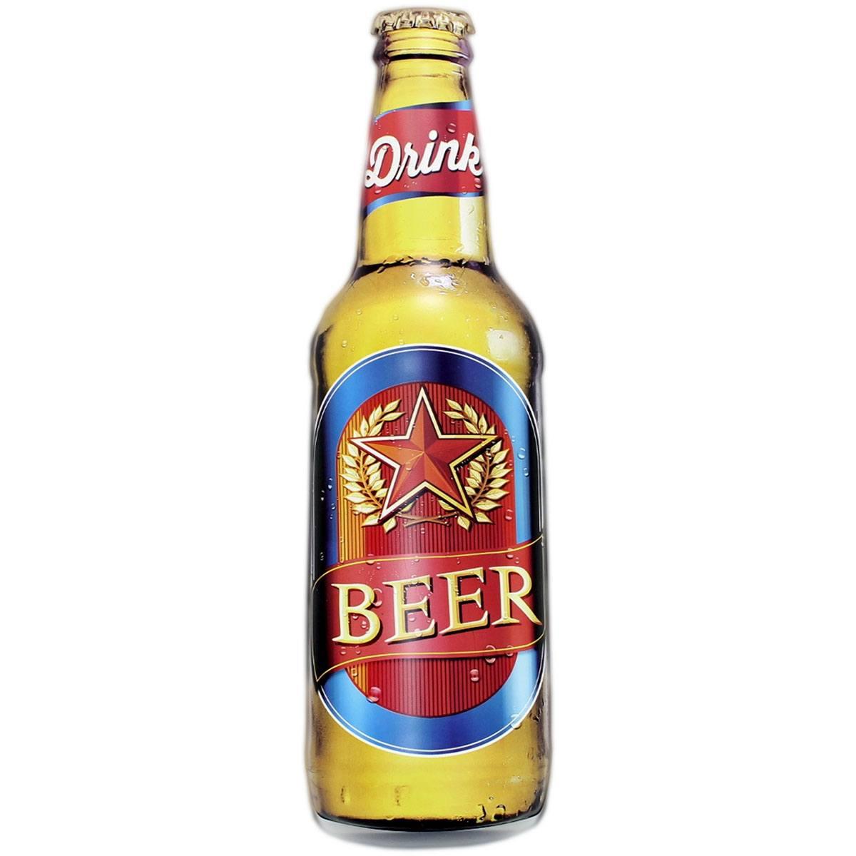 Placa Decorativa Metal Em Relevo Garrafa Beer Estrela 45x13 Cm