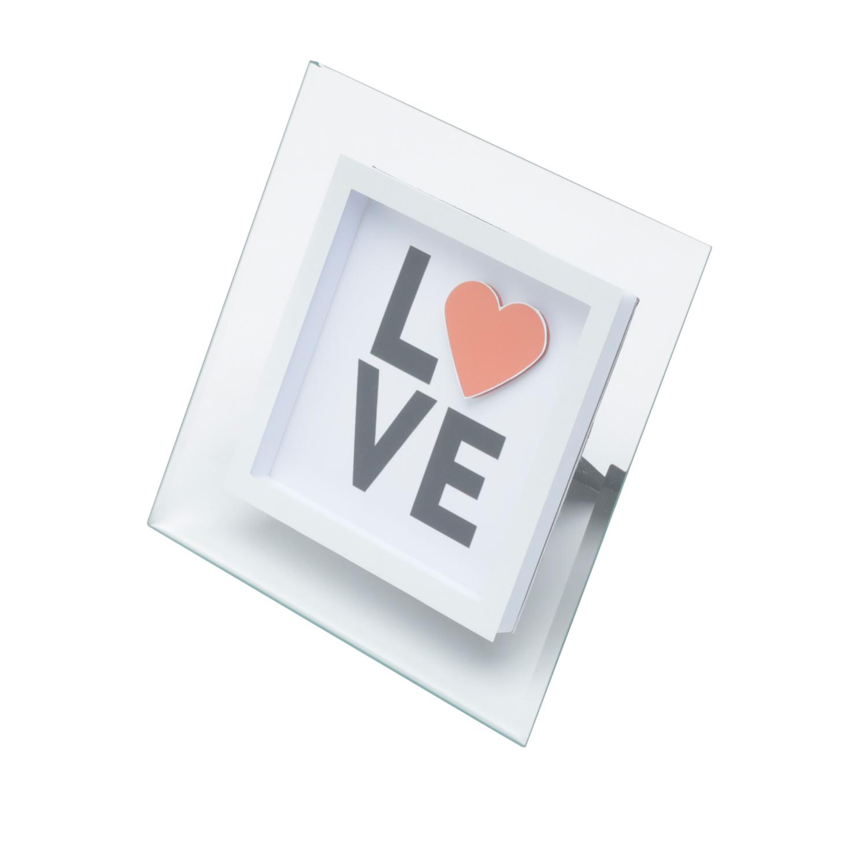 Placa vidro mesa Decor Love Heart transparente15x15cm Urban