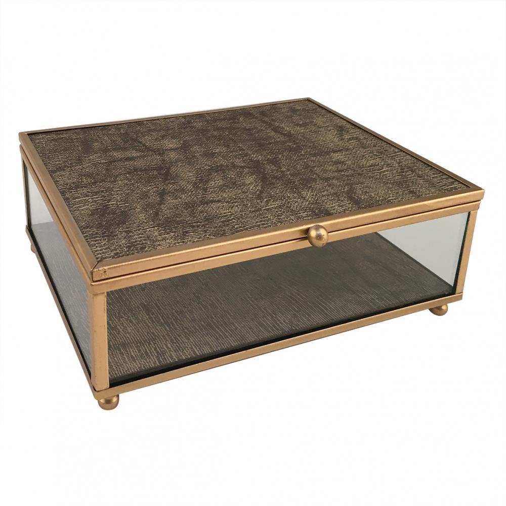 Porta joia metal dourado e vidro transp/marrom 18x13x6cm BTC