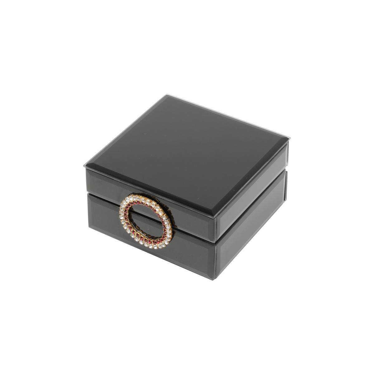 Porta Jóias Madeira Espelhada Puxador Dourado 12x6,5 Prestige