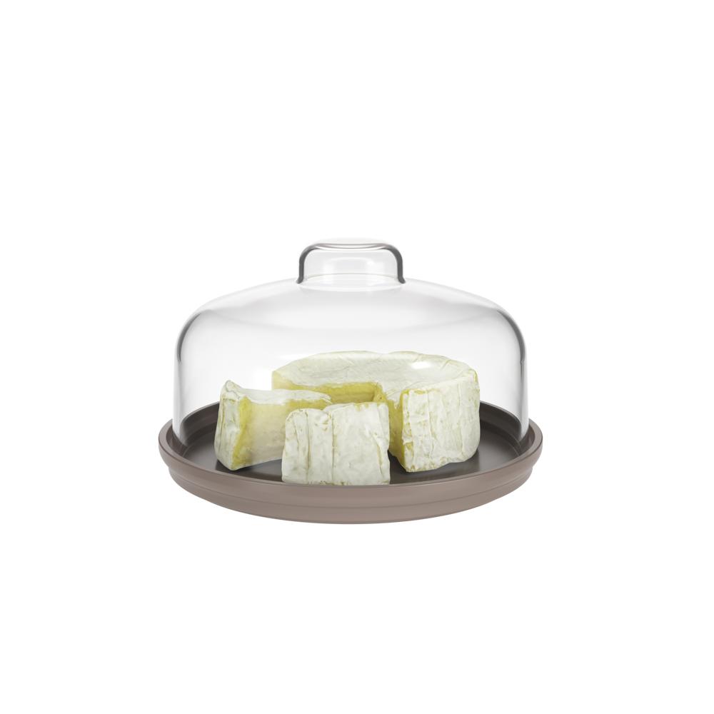 Porta queijo minas Cozy 14,5x8,6cm cinza quente Coza