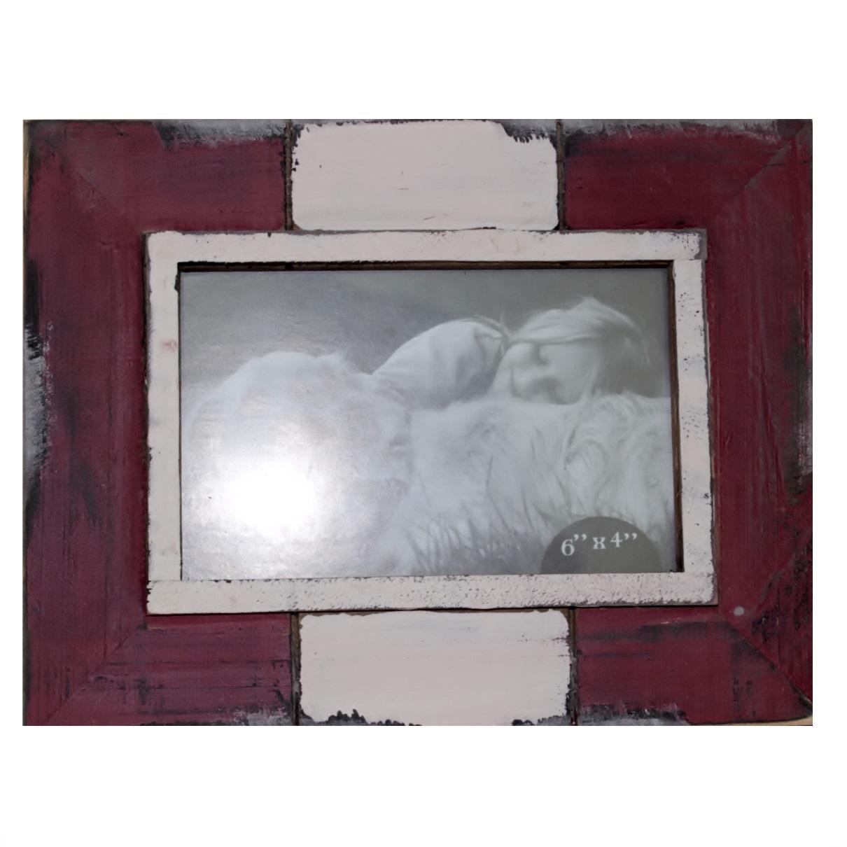 Porta Retrato 10x15 em Madeira Vermelho/Branco Santa Cecília