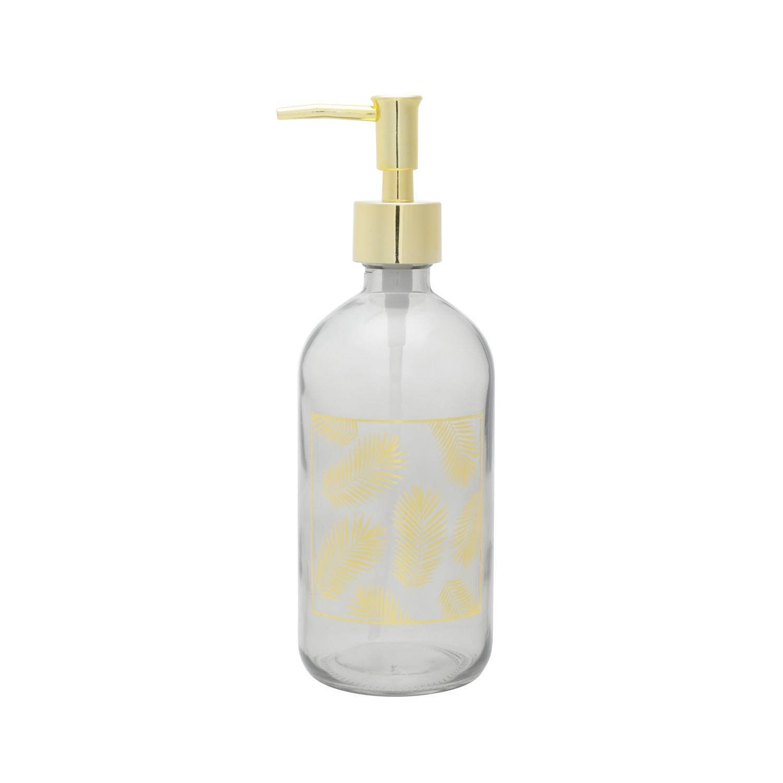 Porta sabonete líquido vidro Round Golden cinza 7x22cm Urban
