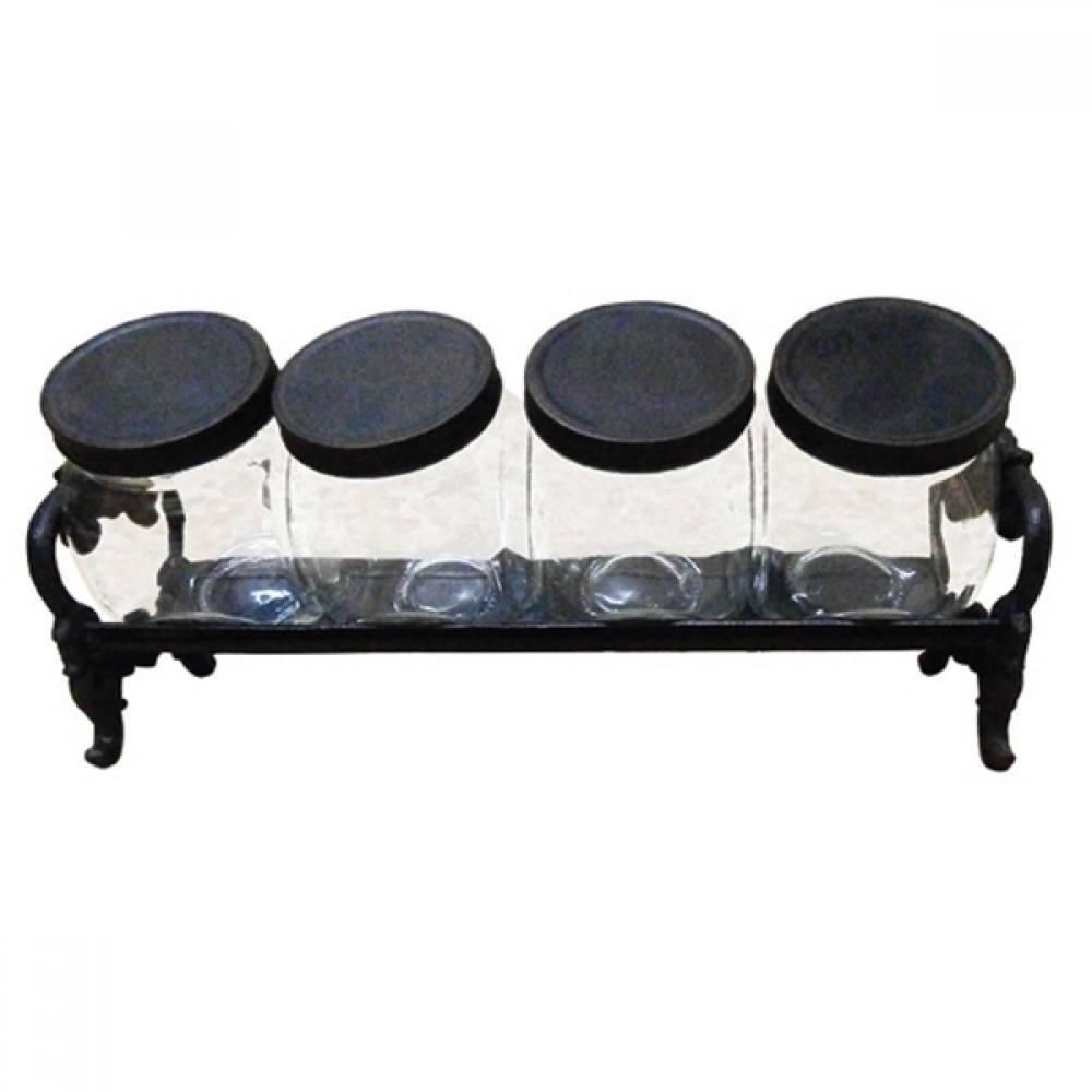Porta temperos base metal 4 potes vidro 38x19x18cm BTC