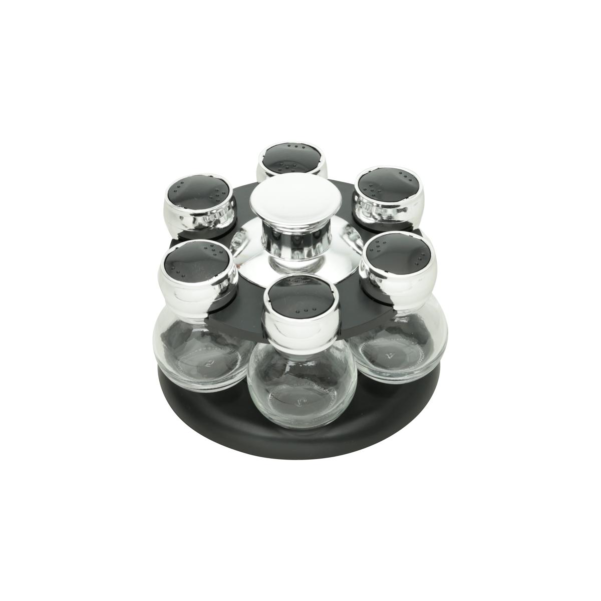 Porta temperos c/6 potes base giratória 17x11cm Bom Gourmet