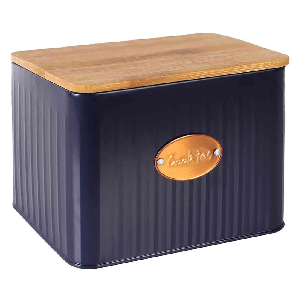 Pote biscoitos metal azul tampa madeira 3,5l 18x16x15cm BTC