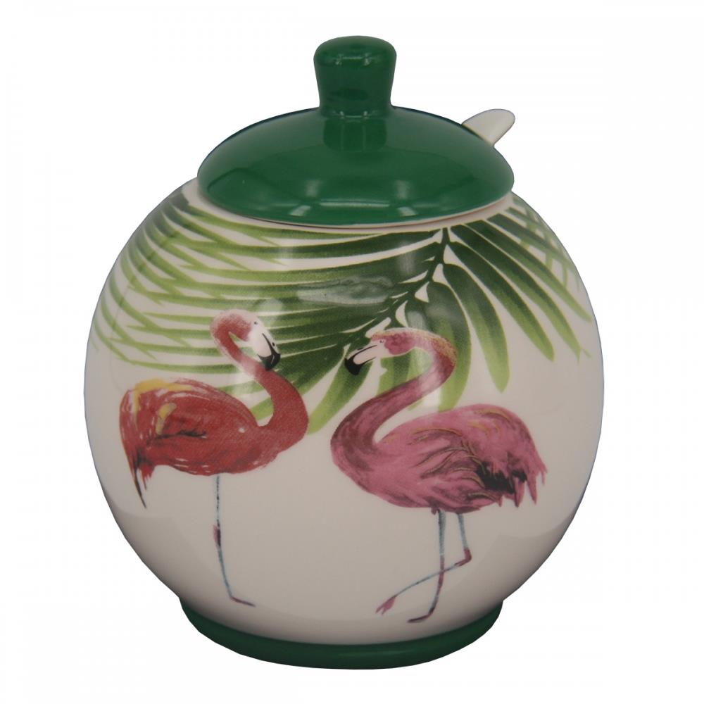 Pote c/ tampa colher cerâmica Flamingo 250 ml 9,8x11,5cm BTC