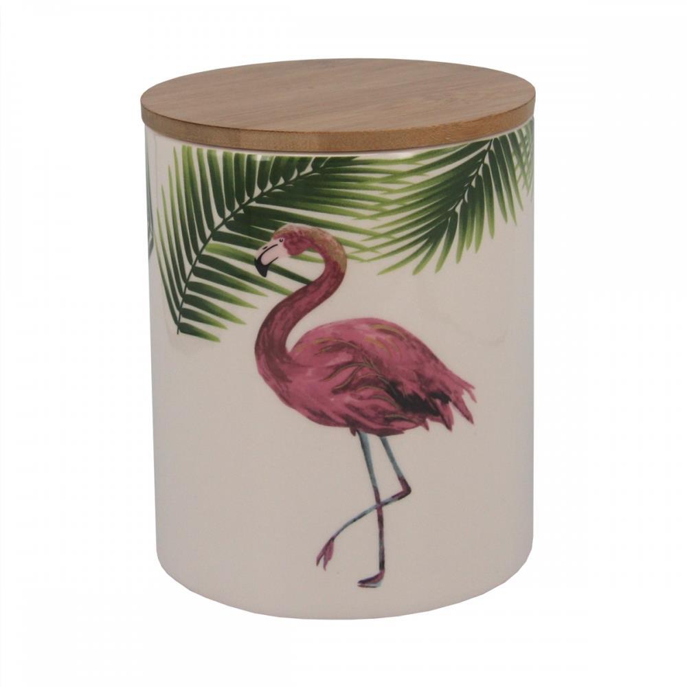 Pote cerâmica tampa madeira Flamingo 1,5l 13x16cm BTC