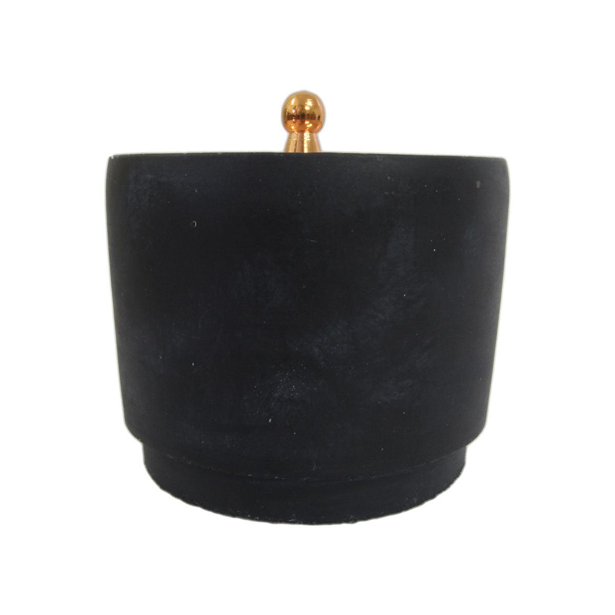 Pote de cimento rústico preto e tampa cobre 13,5x12,8cm BTC